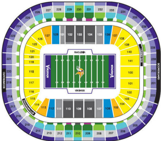 Mall of America Field at the HHH Metrodome Stadium Seating Chart